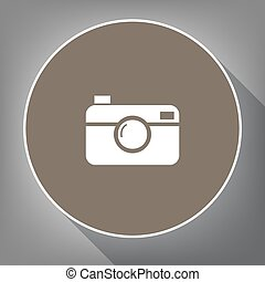 Digital photo camera sign. Vector. White icon on brown...