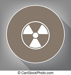 Radiation Round sign. Vector. White icon on brown circle...