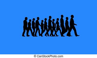 Group of people walking silhouettes