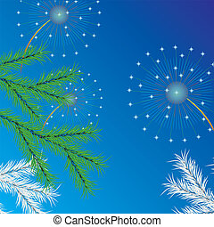 New Year tree and salut Vector - New Year tree, salute and...