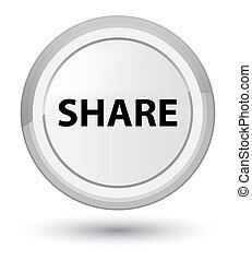 Share prime white round button - Share isolated on prime...