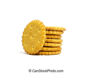 Salted crackers on white background