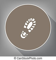 Footprint boot sign. Vector. White icon on brown circle with...
