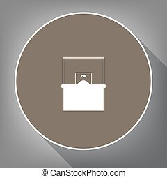 Information Desk sign. Vector. White icon on brown circle...