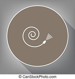 Garden hose sign. Vector. White icon on brown circle with...