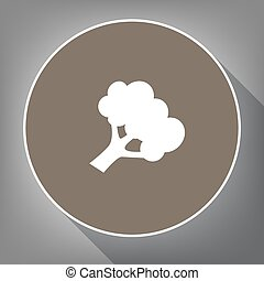 Broccoli branch sign. Vector. White icon on brown circle...