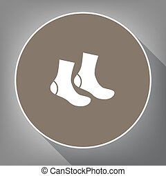 Socks sign. Vector. White icon on brown circle with white...