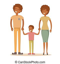 Happy Afro-American family. Father, mother and son together....