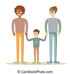 Happy gay men posing with their child. Mixed race...
