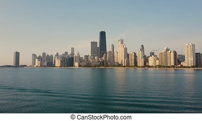 Aerial view of the Michigan lake and Chicago, America. Drone...