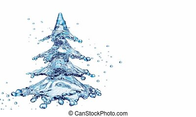 Christmas water splash tree isolated on white. 3d rendering...