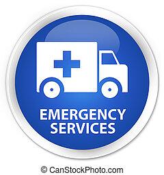 Emergency services premium blue round button - Emergency...