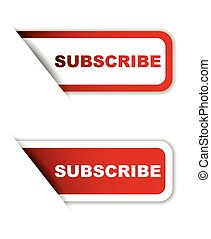 red vector subscribe, sticker subscribe, banner subscribe