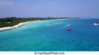 v05661 Aerial flying drone view of Maldives white sandy...