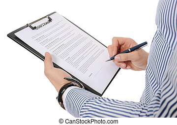 clipboard - Businessman holding a clipboard. Isolated on...