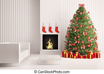 Interior with Christmas tree and fireplace 3d render -...