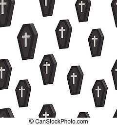 Coffin Seamless pattern. Simple vector illustration....