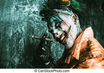 fumar, zangado, palhaço