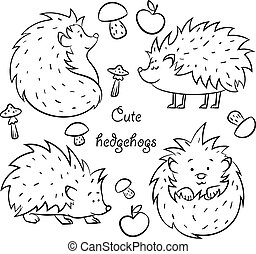 Four Cute Hedgehogs set, hand drawn vector illustration...