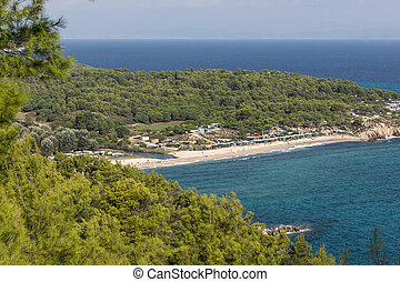 Panoramic view of Platanitsi Beach at Sithonia peninsula,...