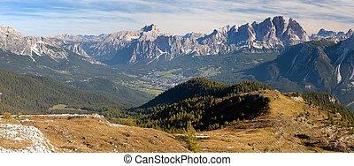 View of Cristallo gruppe, near Cortina d Ampezzo, Alps...