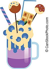 Monster shake with cake pops and blueberries. Giant...