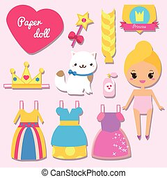 Cute princess paper doll for kids girls. Dress up the doll...