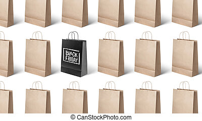 on white background paper bags, black Friday - on white...