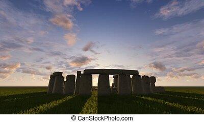 Stonehenge at sunrise - Beautiful sunrise timelapse at the...