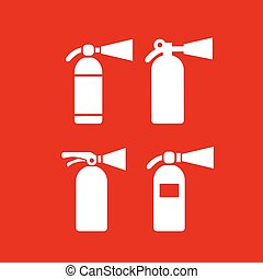 Fire safety extinguisher vector icons set