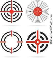 Shooting target vector icons set
