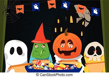 Kids Wearing Halloween Costumes Doing Trick or Treat - A...