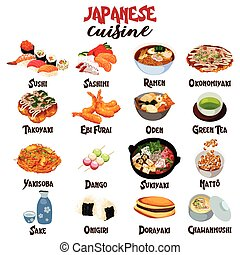 Japanese Food Cuisine - A vector illustration of Japanese...