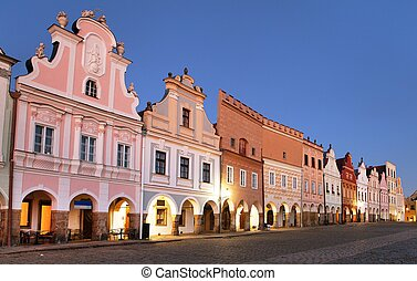Evening red colored view of Telc or Teltsch town square,...
