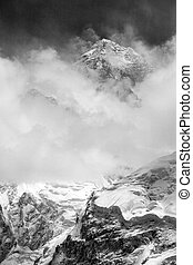 black and white view of Mount Everest from Kala Patthar,...