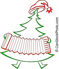 Fir-tree with accordion - Christmas fir-tree with accordion,...