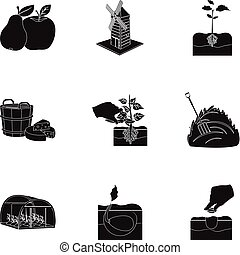 Farm, ecology, nature and other web icon in black style....