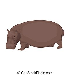 Hippopotamus, an omnivorous artiodactyl animal. The African...