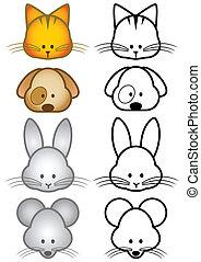 Ilustración, Conjunto, Mascota, animales