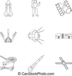 vector, estilo, conjunto, lunokhod, espacio, equipment.,...