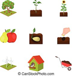 Farm, ecology, nature and other web icon in cartoon style....