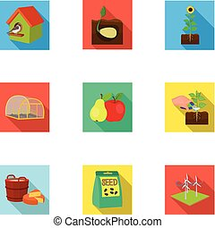 Farm, ecology, nature and other web icon in flat style....