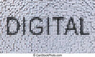 DIGITAL caption on moving pixels motion background, seamless...
