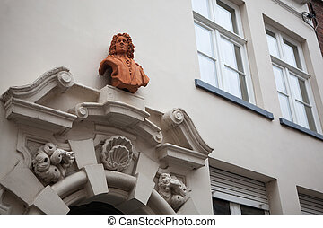 architectural details on the buildings in the city of...