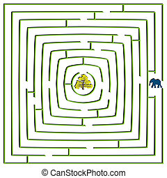 round square maze with elephant and tree, abstract art...