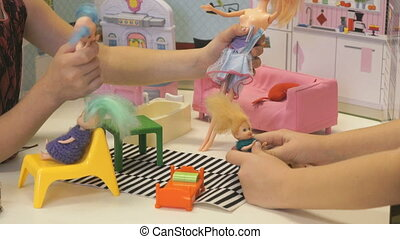 Children play in kindergarten indoors - Children in...