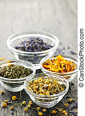 Dried medicinal herbs - Assortment of dry medicinal herbs in...