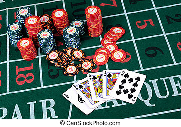 Place a poker player chips and cards