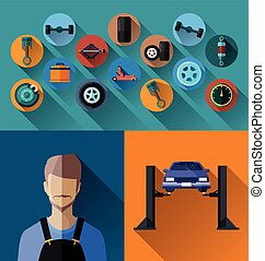 auto spare parts. - Vector Illustration of automotive spare...