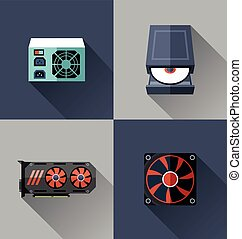 Computer hardware icon. - Vector Illustration of computer...